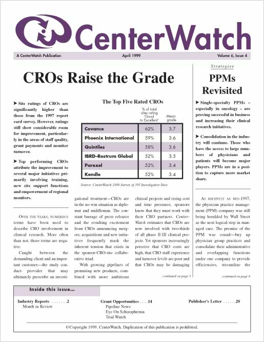 April 1999 – The CenterWatch Monthly : PDF
