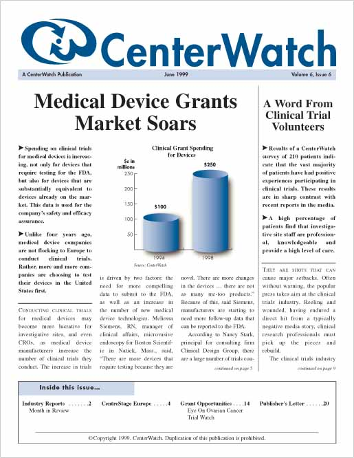 June 1999 – The CenterWatch Monthly : PDF