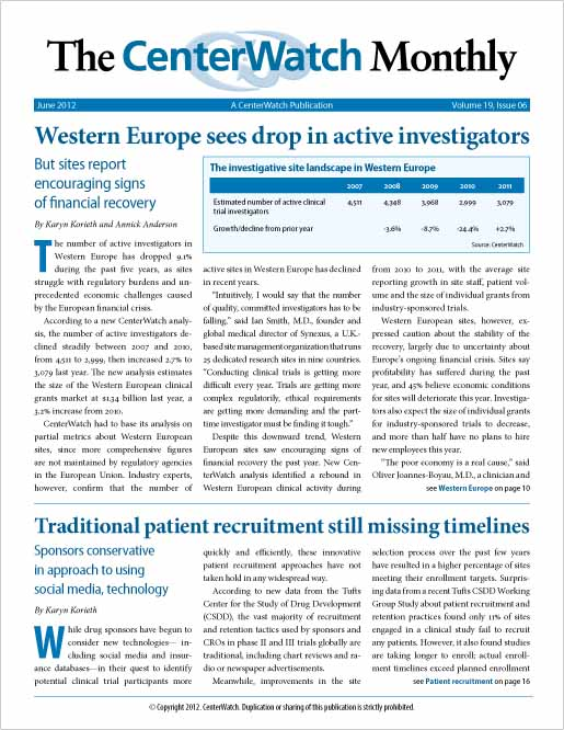 June 2012 – The CenterWatch Monthly : Print